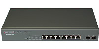 "Switch inteligentny,   8x 10/100/1000 RJ-45, 2x slot SFP, PoE, 19"" (Edge-corE ECS2000-10P)"