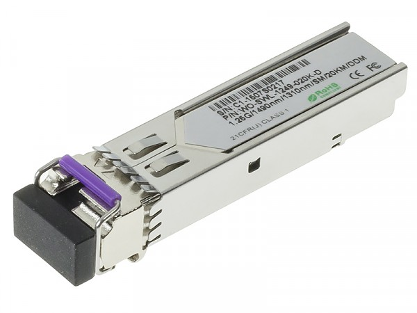 Moduł SFP 1x 1000 Mbps LC SM, 20 km, WDM TX:1490nm (Wave Optics, WO-SWL-1249-020K-D)